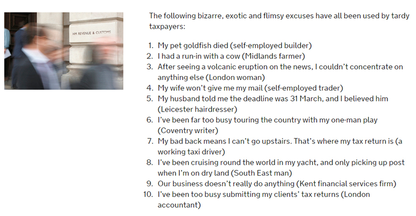 A selection of excuses - not accepted by HMRC